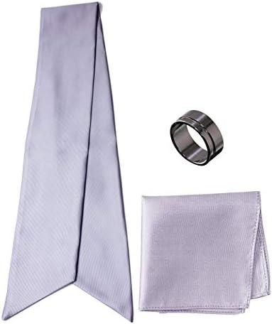 アスコットタイ・ポケットチーフ・タイリング マイクロポリ採用 チーフ メンズ タイリング:No.7 チーフ/タイ(タイプ/カラー):Silver-A