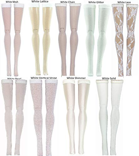 White Doll Stockings for Barbie - Francie - Skipper - Made to Move - Silkstone - Curvy - Tall - Petite