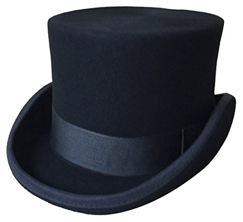 Wool Felt Top Hat Adult (Gemvie Men's Wool Top Hat Satin Lined Party Costume Accessory M Medium US 7 1/8)