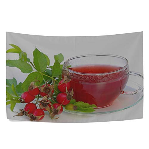 - MAXM Tea Rose Leaves Cup Saucer White Background Wall Hanging Tapestry Bedroom Living Room Beach Doorway Curtain Christmas Thanksgiving Day Decoration 60 X 40 Inch