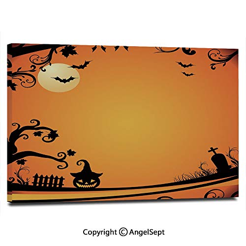Canvas Prints Modern Art Framed Wall Mural Halloween Themed Image Eerie Atmosphere Gravestone Evil Pumpkin Moon Decorative Wall Decorations for Living Room Bedroom Dining Room Bathroom Office,Orange