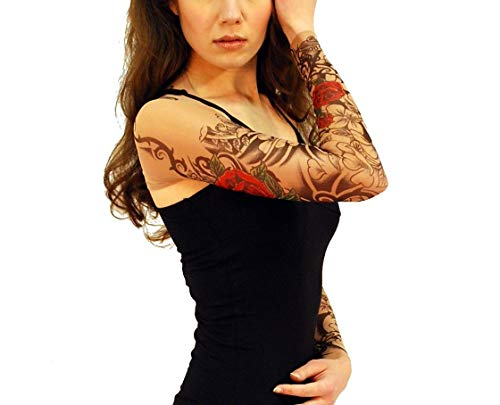 Wild Rose Ladies Tattoo Sleeve Shrug Mesh Sleeves Red Rose,Black Water, Flamenco