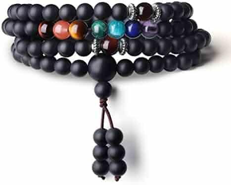 AmorWing Buddhist Prayer 108 Mala Beads Matte Onyx 7 Chakra Semi Precious Gemstone Bracelet/Necklace 6mm