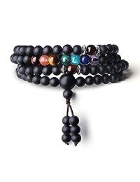 COAI 6mm Tibetan Prayer Matte Onyx 7 Chakra 108 Mala Beads Healing Stones Bracelet