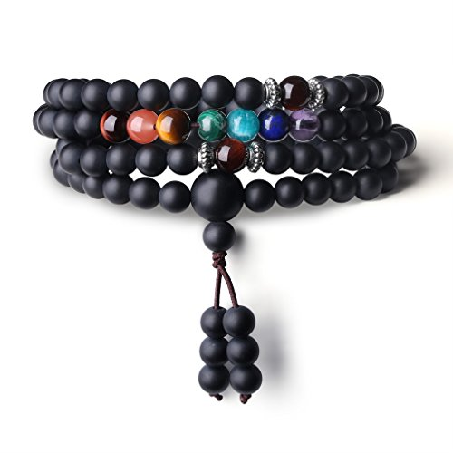 (COAI Buddhist Prayer 108 Mala Beads Matte Onyx 7 Chakra Semi Precious Gemstone Bracelet Necklace 6mm)