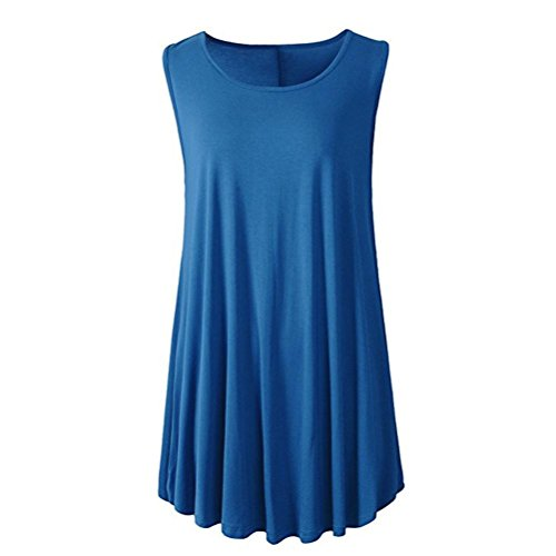 iTLOTL Women Solid Sleeveless Tunic Casual For Leggings Swing Flare Tank Tops Blouse(US:8/CN:M, Blue)