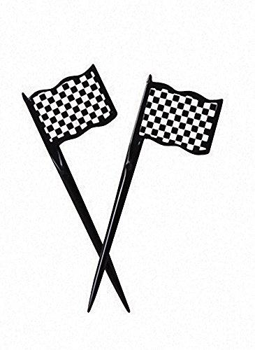 Creative Converting 12 Count Black and White Check Plastic Flag Picks