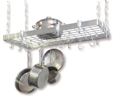 Rectangular Ceiling Kitchen Pot Rack (Concept Housewares PR-40905 Stainless-Steel Hanging Pot Rack,)