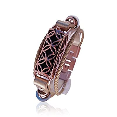 Bracelet Fitbit Fusion- FitBit Jewelry - 925 sterling silver - 18K ROSE GOLD plated - real leather