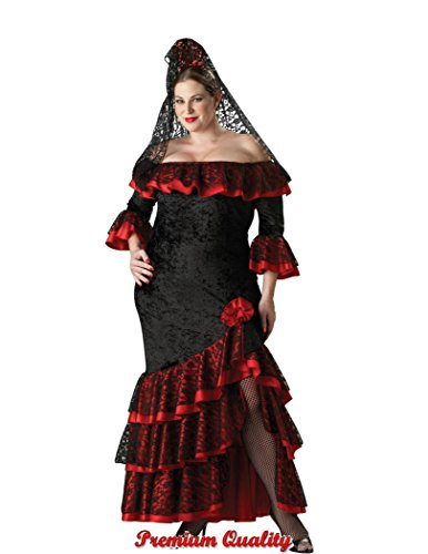 (InCharacter Costumes Women's Plus Size Senorita Costume,  Black/Red,)