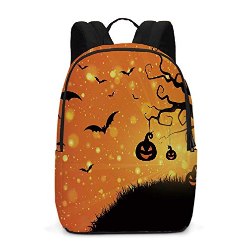 Halloween Durable Backpack,Magical Fantastic Evil Night Icons Swirled Branches Haunted Forest Hill Decorative for School Travel,One_Size]()