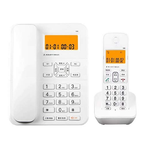 (Twin Digital Cordless Telephone Landline Office Hotel Fixed Telephone Kit Home Wireless Office Telephone Landline Black/White (Color : White))