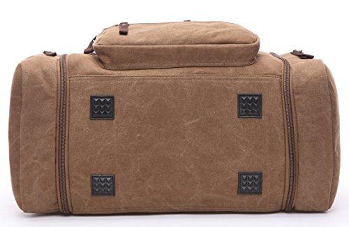 Canvas Duffel Bag, Aidonger Vintage Canvas Weekender Bag Travel Bag Sports Duffel with Shoulder Strap (Coffee)