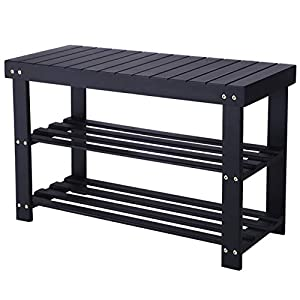 BEWISHOME 2-Tier Bamboo Shoe Bench,Shoe Rack Organizer Entryway, Shoe Shelf with Storage Perfect for Hallway,Bedroom,Bathroom,Patio,Cubby Closet,Cabinet and Foyer KXD01A