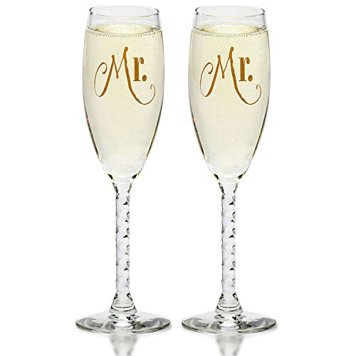 Mr. & Mr. Gay Couple Gold Champagne Flutes - His and His Same Sex Set - For Couples - Engagement, Wedding, Anniversary, House Warming, Host Gift by Smart Tart Design