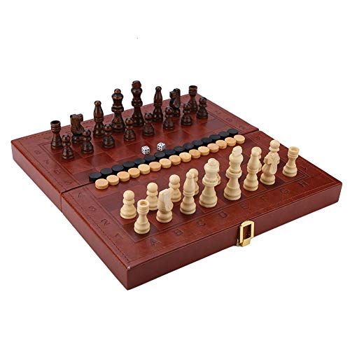 - Garosa Children's Wooden Folding 3-in-1 Chess Checkers Western Backgammon Tabletop Toys Faux Leather Box with Large Size Home Edition