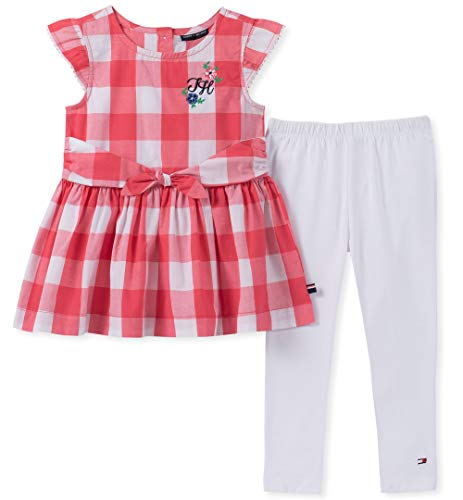 Girls 3 Piece Pant - Tommy Hilfiger Baby Girls 2 Pieces Legging Set, Red, 3-6 Months