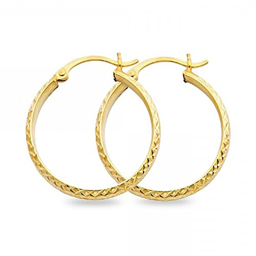 Solid Hoops Round Earrings 14k Yellow Gold Diamond Cut Polished Fancy Genuine Design 25 x 3 mm