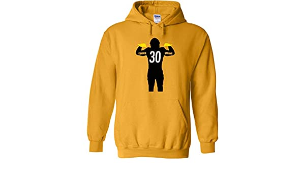 60344469d Gold Pittsburgh Conner Strong Hooded Sweatshirt Adult at Amazon Men s  Clothing store