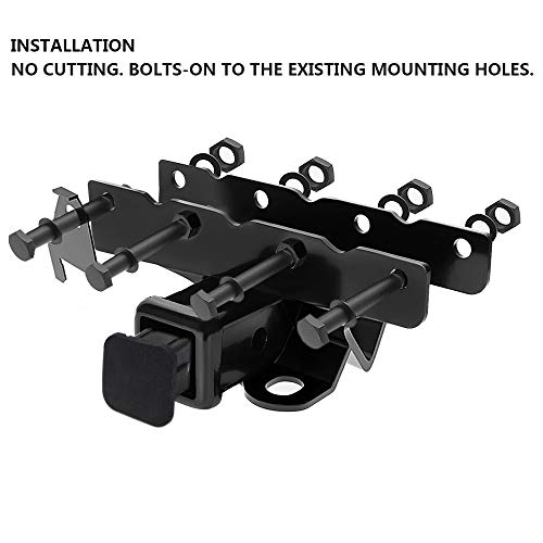 """2 inch Receiver Hitch / 2"""" inch Rear Bumper Trailer Hitch Receiver & Hitch Cover Fit 2018-2019 Jeep Wrangler JL 2 Door & 4 Door (Excl 2018 JK Models) OE Style (Hitch Cover Included)"""