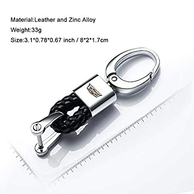 Hey Kaulor 2Pack Genuine Leather Car Logo Keychain Suit for Cadillac Key Chain Accessories Keyring with Logo: Automotive