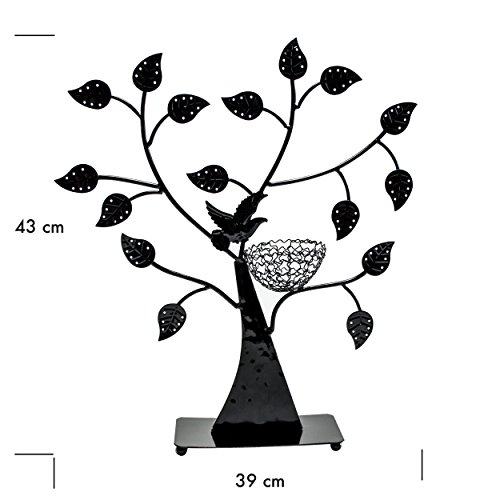 VENKON - Design Schmuckbaum Ohrringhalter Schmuck Organizer Schmuckständer Ringhalter - schwarz - 43 x 38cm -