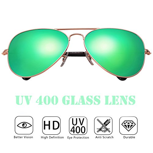 O-LET Mirrored Womens Mens Aviator Sunglasses Girls Boys Aviators UV400 Glass Lens with Gift Case Green