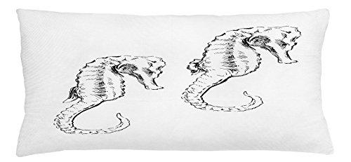 Animal Throw Pillow Cushion Cover by Lunarable, Sketchy Hand Drawn Style Hippocampus Form Long Necked Bony Fish Fins Maritime Design, Decorative Square Accent Pillow Case, 36 X 16 Inches, Grey White