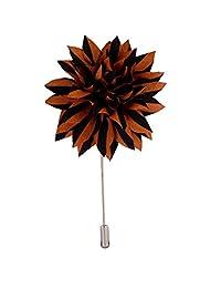 Knighthood Men's Handmade Striped Flower Lapel Pin/Brooch Brown