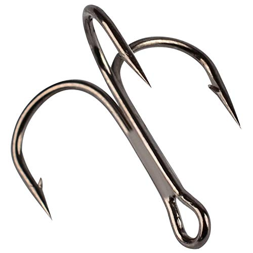 50Pcs Fishing Hook Treble Hooks High Carbon Treble Hooks Super Sharp Solid Triple Barbed Steel Fish Hook,Tawny,10