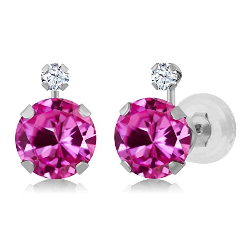 Leverback Pink Sapphire Earrings (2.08 Ct Pink Created Sapphire White Created Sapphire 14K White Gold Earrings)