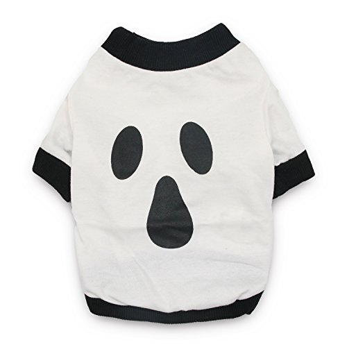 DroolingDog Dog Halloween Shirt Ghost Prints Pet Cotton T-shirt Dog Costumes for Small Dogs, Small, White