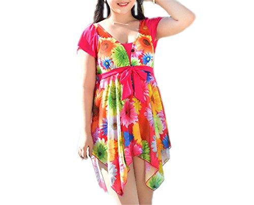 1fd1a789c5e Xanthedoris Skirt Bathing Suit Plus Size Swimwear Women One Piece Short  Sleeve Swimsuit Print Swim Wear Sexy Slim Beachwear NEW Hot Sale rosy Asian  Size XL