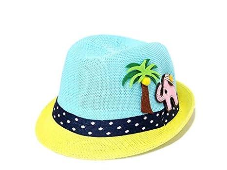 Gorra para niños pequeños Niños de dibujos animados elefante Coconut Tree Sombrero de paja Niños Bowler