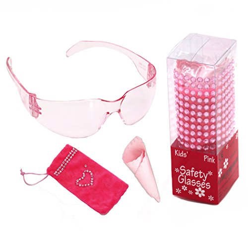 Cute pink kids safety glasses with soft hot pink pouch for small - Pink Glasses Hot Safety