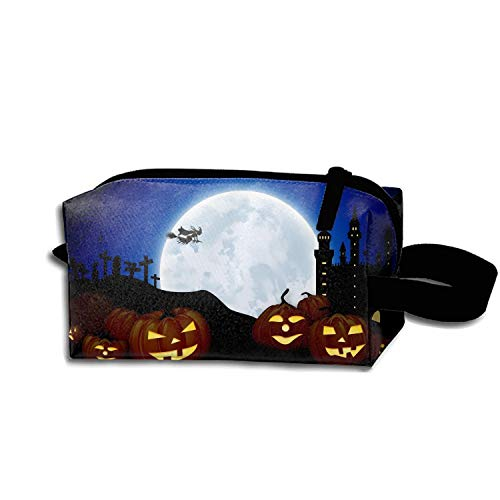 scakoko Cosmetic Bags Brush Pouch Holiday Halloween Jack-o-Lantern Night Witch Moon Portable Makeup Bag Zipper Wallet Hangbag Pen Organizer Carry Case Wristlet Holder]()
