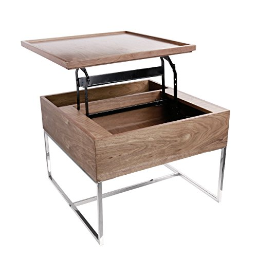LSCUKOO Lift Top Coffee Table with Storage (Walnut)