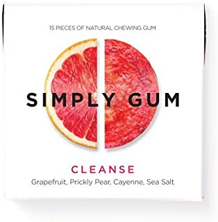 product image for Simply Gum | Natural Chewing Gum | Cleanse with Grapefruit and Prickly Pear | Pack of Six (90 Pieces Total) | Plastic Free + Aspartame Free + non GMO