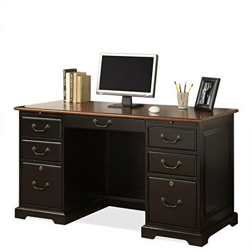 "Riverside Furniture Bridgeport 54"" Flat Top Desk in Antiq..."