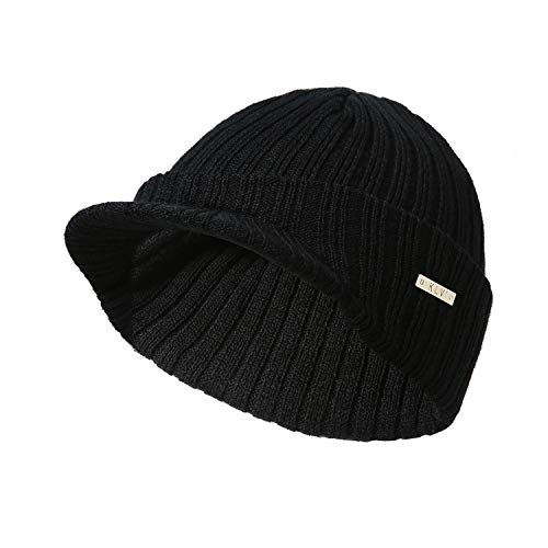 (GordonKo Stripe Knitting Soft Warm Peaked Cap Autumn Winter Men Women Sport Skiing Hat,Black)