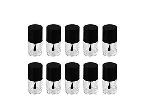 5PCS 10ML Round Shaped Empty Glass Nail Polish Clear Bottles-Nail Manicure Top Coat Varnish Cosmetic Jars with Cap and Soft Brush (Black Lid) by Elandy (Image #4)