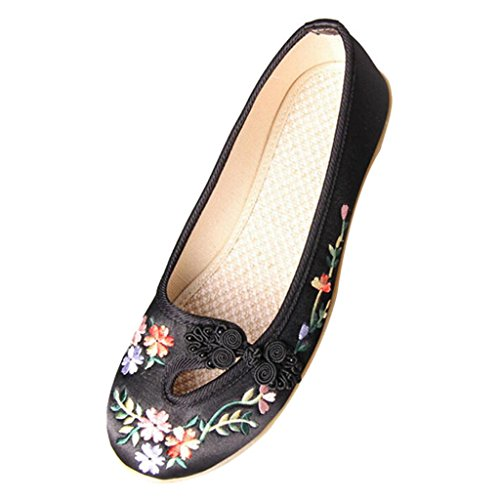 Hee Grand Women Comfortable Folk Style Embroidered Flat Pumps US 5 Black