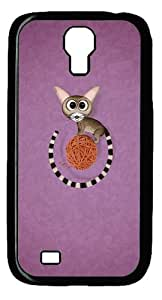 Cat and Wool Ball Custom Designer Samsung Galaxy S4 SIV I9500 Case Cover - Polycarbonate - Black
