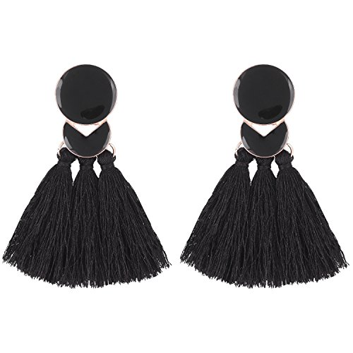 D EXCEED Statement Thread Tassel Earrings Fashion Chandelier Epoxy Earrings Enamel Fringe Earrings for Women Black (Enamel Chandelier Earrings)
