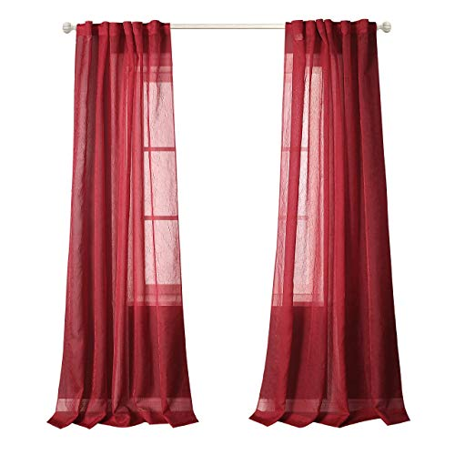 MYSKY HOME Back Tab and Rod Pocket Window Crushed Voile Sheer Curtains for Bedroom, Red, 51 x 84 inch, Set of 2 Crinkle Sheer Curtain Panels