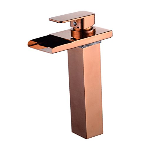 Wovier Rose Gold LED Water Flow Color Changing Waterfall Bathroom Sink Faucet,Single Handle Single Hole Vessel Lavatory Faucet,Basin Mixer Tap Tall Body Ada Vessel Lavatory Faucet