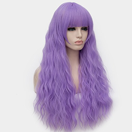 Amazon.com   OneUstar Women Long Curly Wig with Bangs Purple Fluffy Wigs  Heat Friendly Synthetic Cosplay Fancy Dress Party Wigs   Beauty 341aa6639d55