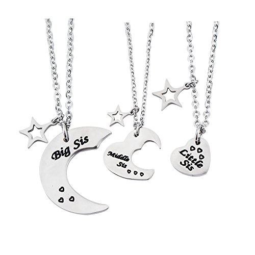 wugouming 3 PS Big Sis Middle Sis Small Sis Pendant Necklace Set Inspiring Gift with Star Charm Women Girls