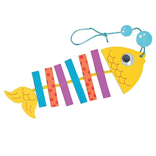 Fun Express - Foam Tropical Fish Mobile CK-12 - Craft Kits - Hanging Decor Craft Kits - Misc Hanging Decor Craft Kits - 12 Pieces