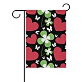 Vantaso Outdoor Garden Flag St Patrick Day Red Heart and Green Leafs Of Clover on Black Polyester Double Sided Printing Fade Mildew Proof for Courtyards Garden Decorative 28×40 inch For Sale